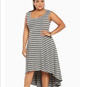 Torrid jersey knit hi-lo grey & black stripe dress